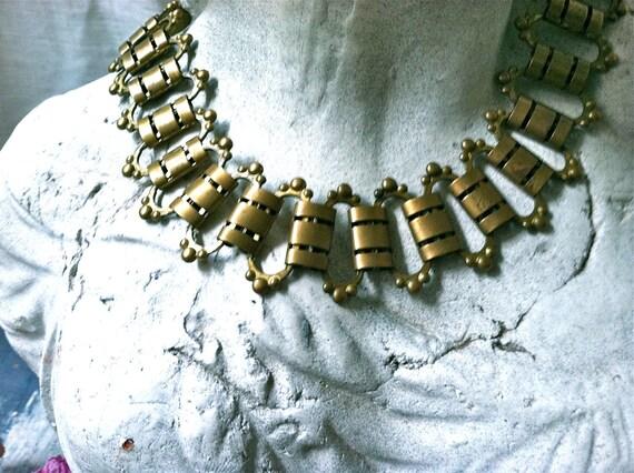 Stunning Vintage Modern Brass Link Necklace