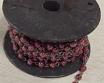 Glass Bead Chain Red 1 yard.