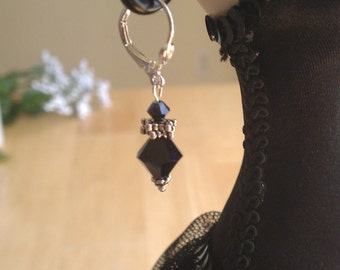 Black Swarovski Crystal Dangle Earrings--Gift for Her Under 15