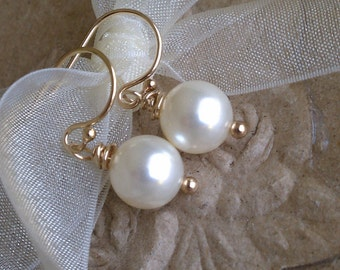 Single Cream Swarovski Pearl and Gold Earrings-Bride/Bridesmaids/Mother Day/Mom/ Grandma