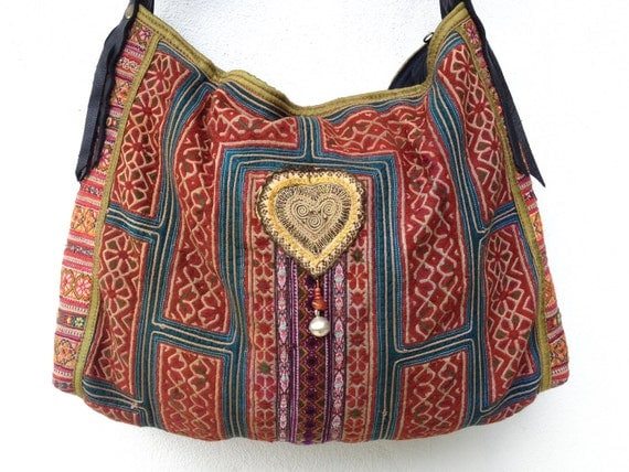 Traditional design Bag, Vintage hmong fabric, quilt, cross stitch and embroidery needlework.
