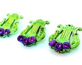 3 Mardi Gras Triton Push Pins/ thumb tacks Made from Green and Purple Triton Mardi Gras Beads with Purple beads