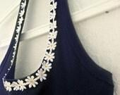 SALE!! Halterneck Daisy Sun Dress: white scallop skirt, scallop hem, upcycled vintage singlet, ready to ship size S M