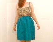 Leopard Print Sun Dress: teal skirt, scallop hem, upcycled vintage singlet, plus size dress