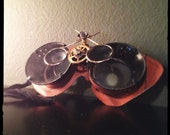 Steampunk Mechanic's Goggles - Leather and Brass with Magnifiers