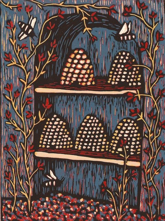 Hives, a color reduction woodcut