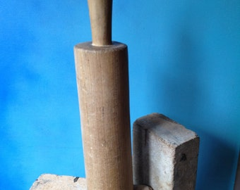 Old wooden tamper tool for kitchen use or Sourkruat making perhaps.