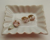 Circa 1970's-1980's Vintage Avon Jewelry Gatsby Goldtone White Clip-on Earrings Shell Bar Buterfly Faux Ivory Horn