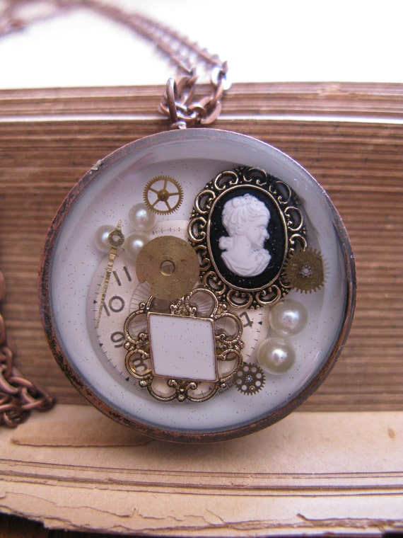 Gorgeous Steampunk Vintage Style Watch Pendant - Real watch face and parts encased in resin with open back copper bezel