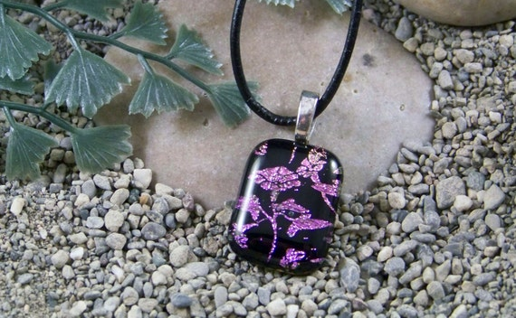 Fused Glass Necklace Dichroic - Purple Floral Pendant - Fused Glass Jewelry