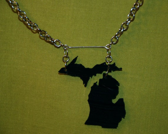 Michigan Recycled Record Necklace