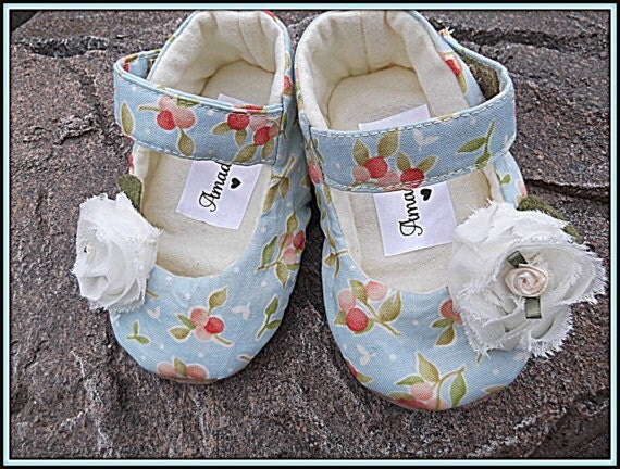 Baby Mary Jane Shoes | Infant Booties | Toddler Flats | Shabby Baby Shoes | Soft Babies Shoes