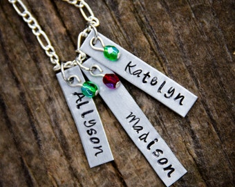 Custom Hand Stamped Aluminum Mother's Necklace with Names and Birthstones