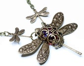 Cyber Monday Etsy, Dragonfly Necklace, Victorian Filigree Jewelry