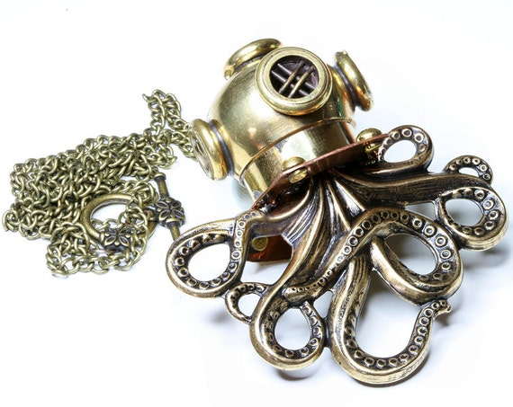 Octodiver Steampunk Pendant Octopus Necklace Steampunk Jewelry