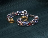 Glass Linked Colored Chainmaille Bracelet, Byzantine Weave