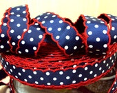 "Moonstitch Red, White, and Blue 5 yards of 7/8"" grosgrain Moon stitch ribbon for hairbows or headband SUPPLIES bow."