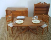 dollhouse  DINING ROOM set brown 5 pc. with accessories
