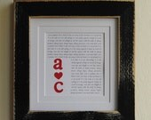 Personalized Wedding Gift/ Engagement Gift/ Anniversary Gift/ First Dance Lyrics/ Vows/ Initials FRAME (8x8)