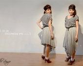 asymmetrical draped grey marle pleat-waisted skirt - free size -