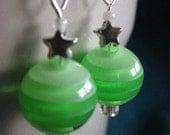 Green Apple Star Candy Earrings