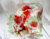 AGAPE. Hand Painted Square Silk Scarf. Lime Green, Red Silk Shawl. Dahlias Fashion. 35,4 x 35,4 in. (90x90cm). Ready to Ship.