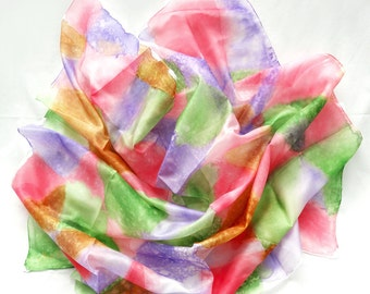 Square Silk Scarf. Hand Painted Scarf. Pink, Green, Purple Silk Shawl. Unique Gift. Art on Silk. Head Scarf. 35x35in (90x90cm) Ready to Ship
