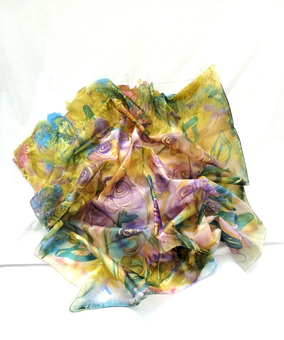 THEOKLEIA. Hand Painted square Silk Scarf. Hand dyed Gold, Olive, Purple Silk Shawl. Roses Fashion. 35,4x35,4 in. (90x90cm). Ready to Ship.