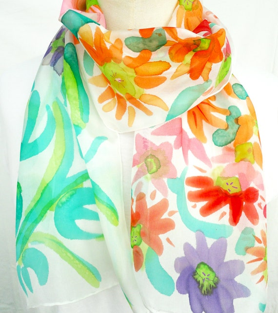 CLARA. Hand Painted Long Silk Scarf. Hand dyed Multicolor Silk Scarf. Colorful Floral Fashion. 10x60 in. (25x150 cm). Ready to Ship.