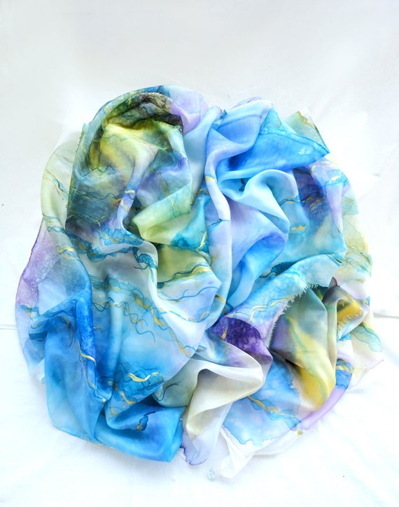 Blue Silk Scarf. Hand Painted Big Scarf with 4 Gems. Multicolor Shawl. Back to Heaven. Luxury Sized Scarf. 67x35in. (170x90cm). Ready2Ship.