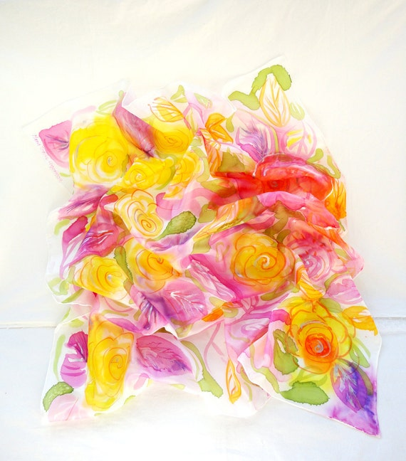 THELPOUSA. Hand Painted square Silk Scarf. Hand dyed Multicolor Silk Shawl. Yellow Roses Fashion. 35,4 x 35,4 in. (90x90cm). Ready to Ship.