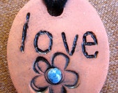 Whimsical Handmade Oval Ceramic Flower Love Pendant Necklace - Natural Terracotta, Black and Blue