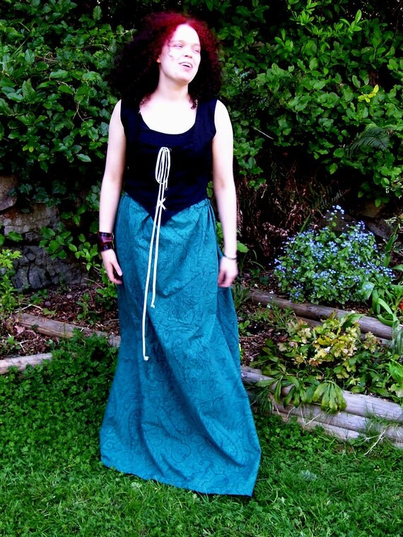 Skirt- Teal with Paisley Pattern (Autumn Sale)