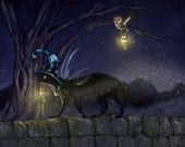 Lighting the Way Ash Evans fantasy black cat art print