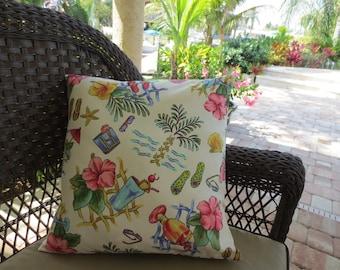 Outdoor Pillow Cover / Tropical Print / Beach Theme
