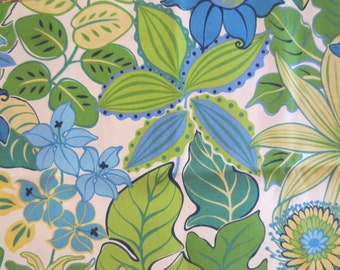 Indoor / Outdoor Pillow Cover Fun Floral Print in Blue, Green & Yellow