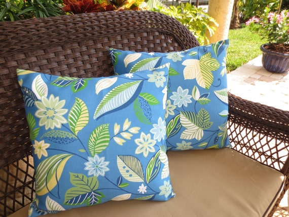 Indoor / Outdoor Pillow Cover / Blue Pillow Cover / Blue Floral Pillow Cover