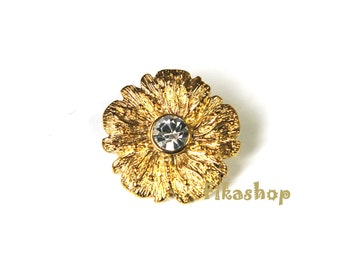S A L E : 26mm 3pcs Flower clear crystal gold or silver shank buttons Fikashop