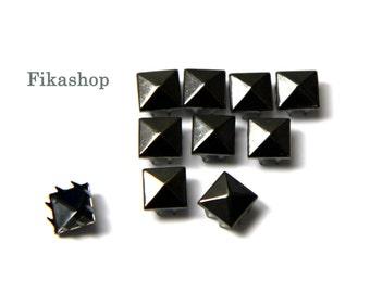13mm 50pcs Gunmetal grey pyramid studs ( 8 legs ) / HIGH Quality - Fikashop
