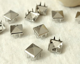 9mm 100pcs Silver pyramid studs ( 8 legs ) / HIGH Quality - Fikashop