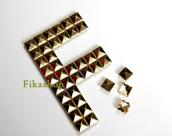 10% Off Clearance SALE: 7mm 100pcs Gold pyramid studs (4 legs) / HIGH Quality -  Fikashop