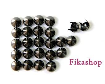 20% Off SALE : 8mm 50pcs Gunmetal conical studs ( 4 legs )/ HIGH Quality - Fikashop