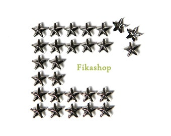10% Off Clearance SALE: 9mm 100pcs Silver Star Studs ( 5 legs ) / HIGH Quality - Fikashop
