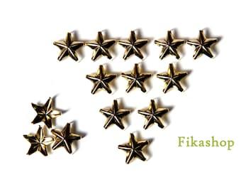 11mm 100pcs Gold Star Studs ( 5 legs ) / HIGH Quality - Fikashop