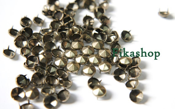 8mm 50pcs Brass conical hexagon  studs / HIGH Quality - Fikashop