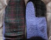 Plaid/Blue Wool Mittens