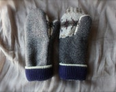 Tweed/Cream/Gray with Blue Trim Wool Mittens