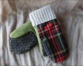 Red Plaid/Gray/Green Wool Mittens