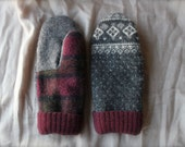 Gray Pattern/Gray/Maroon Plaid Wool Mittens