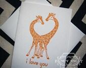 "Letterpress Greeting Card - ""I Love You"" Giraffes"